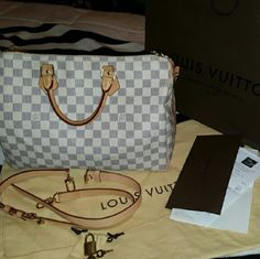 Louis vouiton Damier Azur speedy 35 In excellent almost new condition very well taken care . Dust bag receipt bag locks included Louis Vuitton Bags