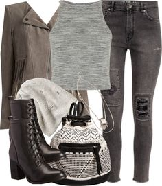 #MaliaTate Inspired Clubbing Outfit by veterization featuring beanie hats Topshop crop top, $36 / Design Lab motorcycle jacket / H&M black skinny jeans, $43 / Steve Madden lace up boots / Abercrombie Fitch... #TeenWolf