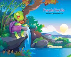 Purple Turtle wall Paper Purple Turtle, School Videos, Early Learning, Pre School, Homeschool, Nursery, Digital, Wallpaper, Books