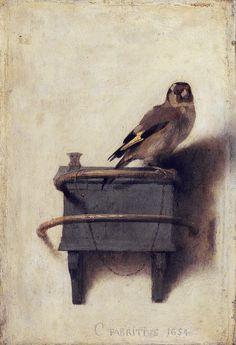 """ The Goldfinch, 1654 Carel Fabritius (1622-1654) """