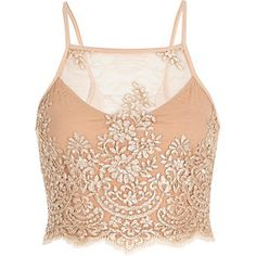 Nude pink embroidered lattice back crop top