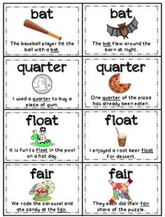Homographs (Multiple Meaning Words) Memory - Aligned with Common Core Standards Teaching Vocabulary, Teaching Grammar, Teaching Language Arts, Speech Language Therapy, Speech Therapy Activities, Student Teaching, Speech And Language, English Vocabulary, English Grammar
