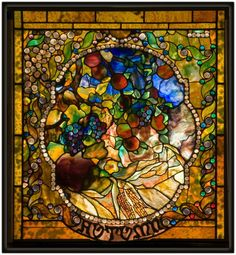 Autumn panel from the Four Seasons window, c. 1899–1900. Living room, Laurelton Hall, Long Island, New York, 1902–57. Exhibited: Exposition Universelle, Paris, 1900, and Prima Esposizione Internazionale d'Arte Decorative Moderna, Turin, Italy, 1902. Leaded glass. Tiffany Glass and Decorating Company, New York City, 1892–1900.