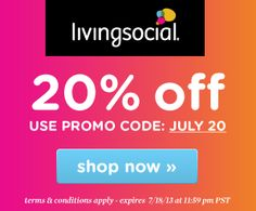 Living Social: 20% off Purchase - http://www.livingrichwithcoupons.com/2013/07/living-social-20-off-purchase.html