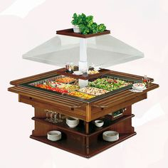 Wooden Square Buffet | Chillers Rental | Rent4Expo.eu Conservation, Restaurant, Cold Meals, Popcorn Maker, Salad Bar, Decorative Boxes, Kitchen Appliances, Cold Food, Buffets
