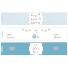 Elephant Baby Shower Printable Bottle Wraps/Napkin Rings available online from PartyLady.co.za delivered throughout South Africa