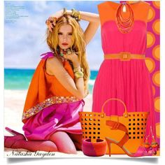 """Pink and Orange"" by natasha-gayden on Polyvore"
