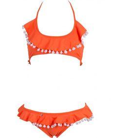 Nylon/ Lycra Top: Crop top, halter style bikini, shirred back, seamless with pompoms