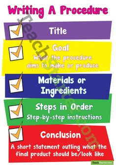 Writing A Procedure Poster | Teach Starter - Teaching Resources
