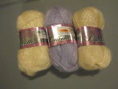 3 skeins of PATONS LACETTE Mohair Blend yarn 3 skeins of Patons Lacette Mohair yarn, 2 Cream and 1 Lilac 50 grams 235 yards sld new Mohair Yarn, Wool Yarn, Sport Craft, Yards, Lilac, Cream, Crafts, Ebay, Creme Caramel