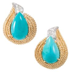 David Webb Turquoise and Diamond Earrings | From a unique collection of vintage clip-on earrings at https://www.1stdibs.com/jewelry/earrings/clip-on-earrings/