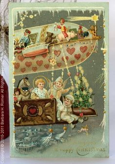 Antique German postcard--zeppelin full of toys