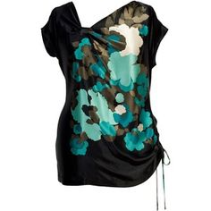 I rarely like things with asymmetrical collars or hems, but this top is really stunning. Chesca Printed silk tunic