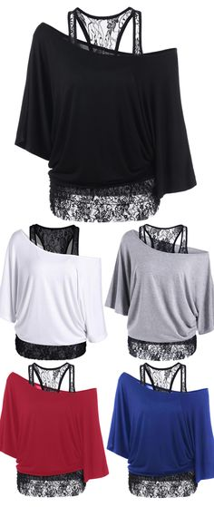 Skew Collar Lace Trim T-Shirt