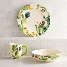 With the lush designs on our Desert Cactus Dinnerware, it's hard to believe that the plant comes from such an arid environment. Featuring shades of green embellished with colorful blooms, each piece is crafted of ironstone and is dishwasher-safe and microwaveable.