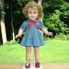 C1930s Ideal Composition Shirley Temple Doll Poor Little Rich Girl 18 Inch All Original