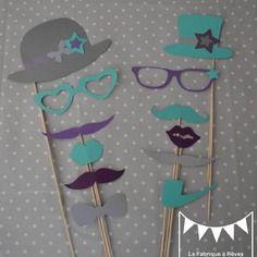 Lot 12 pièces photobooth gris violet turquoise mariage moustache bouche lunettes pipe  - anniversaire fête