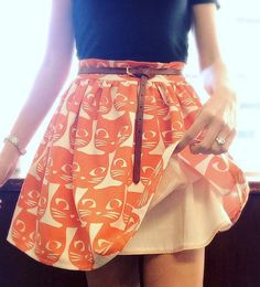 Heather's cat print Clemence skirt - sewing pattern in Love at First Stitch