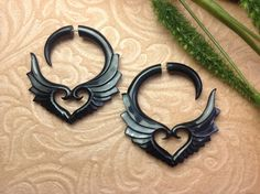 "Fake Gauge Earrings, ""Soaring Hearts"" Hand Carved, Horn, Naturally Organic, Tribal. $20.00, via Etsy."