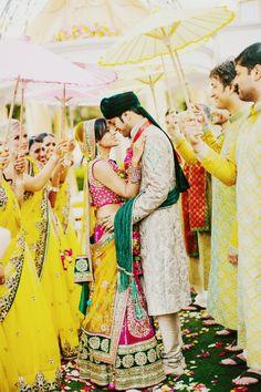 http://weddingstoryz.blogspot.in/ Indian Weddings Desi Weddings Bride makeup jewelry lehenga yellow green groom sherwani spring colors!