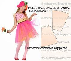 MOLDE BASE SAIA CRIANÇA TAMANHO 116/6 ANOS ~ Moldes Moda por Medida