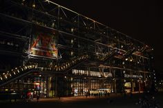 Picture of the museum Centre Pompidou in Paris, France by night.