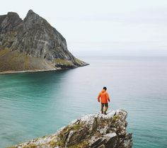 Morning rambles on the ridge above Kvalvika Beach with @aetherapparel. Lofoten Islands Norway by alexstrohl