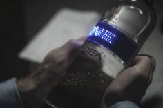 A vodka bottle with a programmable LED ticker.