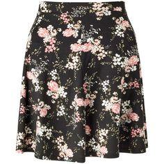 Miss Selfridge Black Floral Skater Skirt (1090 NIO) ❤ liked on Polyvore featuring skirts, miss selfridge, black, long rayon skirt, long flared skirt, floral print skirt, long summer skirts and long circle skirt