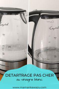 Comment détartrer efficacement une bouilloire ? Plutôt que d'acheter des produits toxiques vendus dans le commerce, je vous propose d'utiliser une astuce saine et économique.   Le vinaigre blanc ne coûte que 40 centimes le litres en moyenne, il ne présente pas de risques pour la santé ou pour votre électroménager. Découvrez l'astuce sur mon blog ! Commerce, Kettle, Kitchen Appliances, Blog, Diy, Uses For White Vinegar, Cleanser, Washing Machine, Tips And Tricks