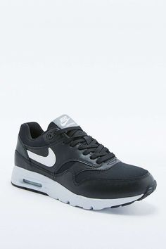 Shop Nike Air Max 1 Ultra Essentials Black and White Trainers at Urban Outfitters today. Nike Air Max, Air Max 1, Black And White Trainers, Air Max Sneakers, Sneakers Nike, Gym Gear, In This World, Nike Free, Latest Fashion