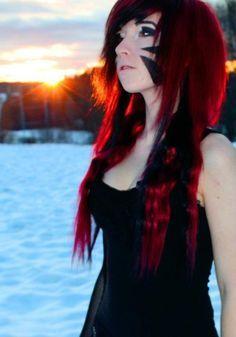 Gallery For > Half Black Half Red Scene Hair Scene Girls, Emo Scene, Red Scene Hair, Scene Girl Hair, Cute Emo Girls, Peinados Pin Up, Alternative Hair, Grunge Hair, Dream Hair