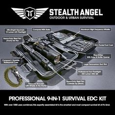 Stealth Angel 9-in-1 Survival Kit (With Paracord)