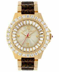 Betsey Johnson Watch, Women's Leopard Acetate and Gold-Tone Stainless Steel Bracelet 40mm BJ00004-21 - A Macy's Exclusive - Women's Watches - Jewelry & Watches - Macy's