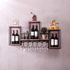 Hanging Storage Shelves, Wine Rack Shelf, Hanging Wine Rack, Bar Shelves, Wine Shelves, Wine Rack Wall, Floating Shelves, Bookshelf Storage, Storage Rack