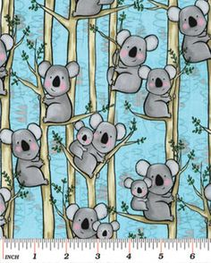 This listing is for one yard (36 x 44/45) of Koalas Aqua 100% cotton fabric from the Down Under line, designed by Kanvas for Benartex - 05249-5.