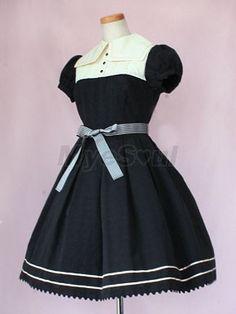 Deep Blue Short Sleeve Straps Ruffled Collar Lolita Dresses