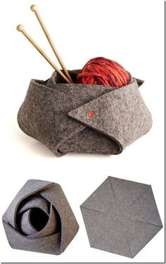 DIY: felt rosebud basket (perfect for storing I've been looking into getting a ceramic yarn bowl, but I like the felt idea. Felt Diy, Felt Crafts, Fabric Crafts, Sewing Crafts, Sewing Projects, Knitting Projects, Rose Basket, Felt Roses, Felt Flowers