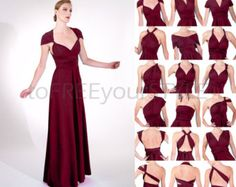 Long convertible dress in CHERRY red matte von toFREEyourSTYLE