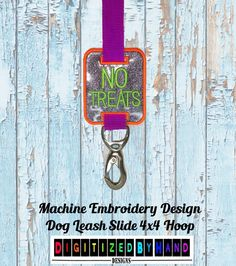 In the Hoop Dog Leash Slide - Marine Vinyl Dog Embroidery Design - ITH Machine Embroidery Design project for 4x4Hoops - No Treats