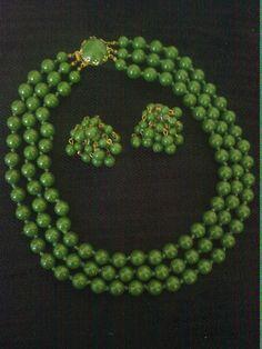 Vintage Kitsch Mod 1960s 3 Strand Bead Emerald Green necklace & earrings by LuluBrandy, £15.00
