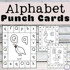 These alphabet punch cards are a fun way for kids to practice their letter recognition while also working on their fine motor skills. Preschool Learning Activities, Preschool Lessons, Alphabet Activities, Teaching Resources, Teaching Letters, Preschool Letters, Letter Recognition Games, Letter Recognition Kindergarten, Letter Games