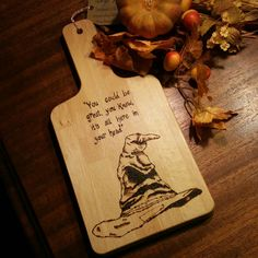Harry Potter, Sorting Hat, Wood Burned Cutting Board by IndigoSpoons on Etsy https://www.etsy.com/listing/266653646/harry-potter-sorting-hat-wood-burned