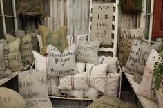 Antique grain sacks as high end textiles.