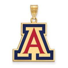 Sterling Silver w/ 14K Yellow Gold-Plated LogoArt Official Licensed Collegiate University of Arizona (UA) Large Enamel Pendant