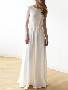 Sleeveless Lvory Backless Lace Maxi Wedding Dress