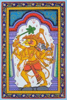 Kala Ksetram — Panchamukha Hanuman, Odisha pata painting