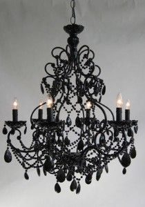 black crystal florentine chandelier! I want this for above my bath tub