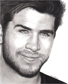 Liam Hemsworth Gale Hawthorne The Hunger Games, Celebrity portrait, pencil drawing, black and white,