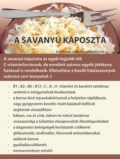 savanyú káposzta Healthy Beauty, Healthy Tips, Good Food, Yummy Food, Health Eating, Fermented Foods, Vegan Recipes Easy, Healthy Drinks, Natural Health